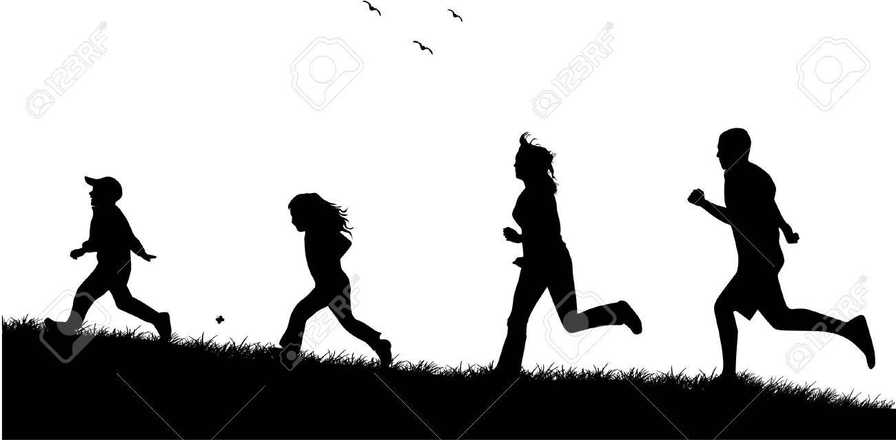 Running  family - black silhouettes of people Stock Vector - 7807862