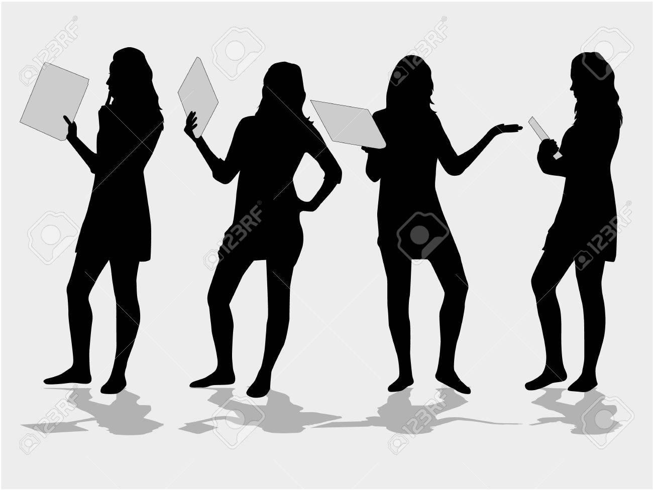 silhouette girls Stock Vector - 7807829