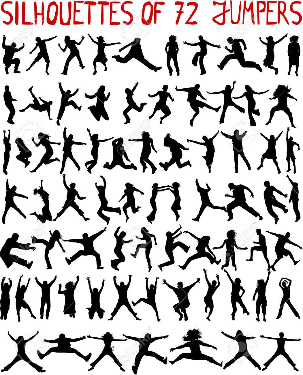 large collection - 72 profiles of people jumping - 8666612
