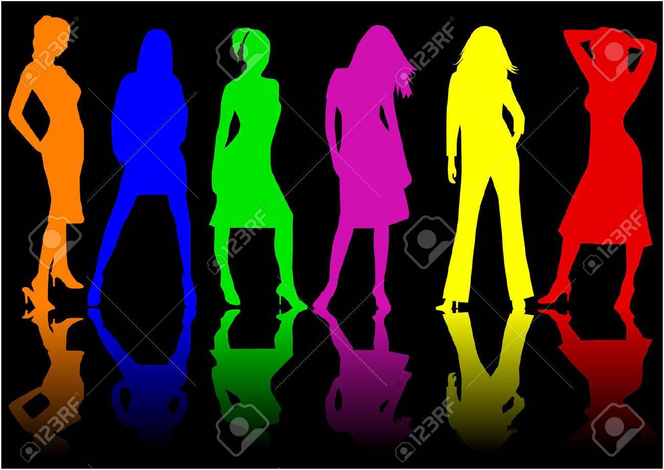 Beautiful girls - color , vector work Stock Vector - 8741787