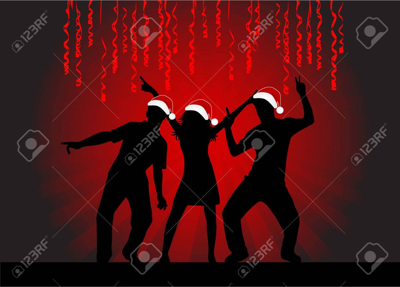Christmas Time - dancing silhouettes Stock Vector - 8934918