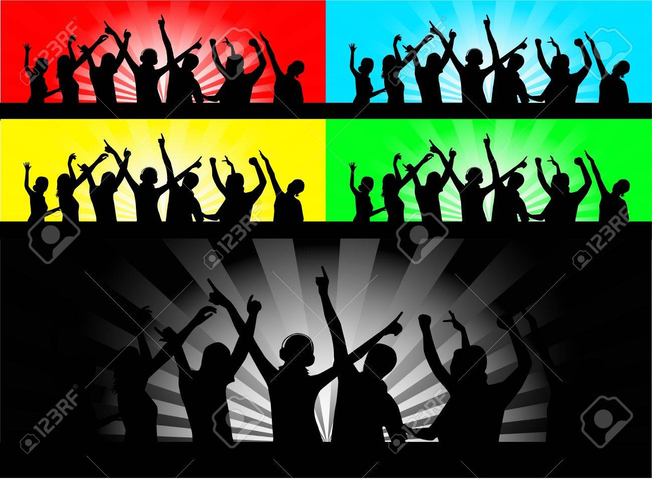Party People Silhouette Vector Free Vector Party People Dancing