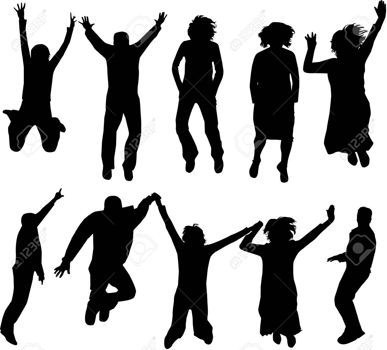 Jumping Silhouettes Stock Vector - 10423244