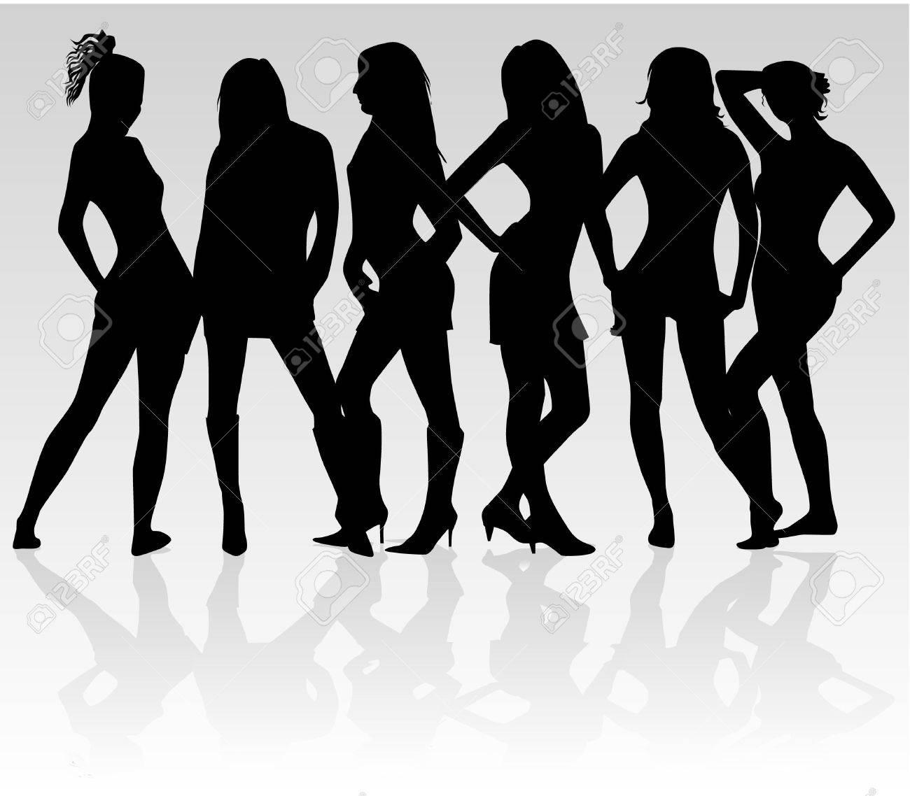 Beautiful girls - shadow Stock Vector - 11356376