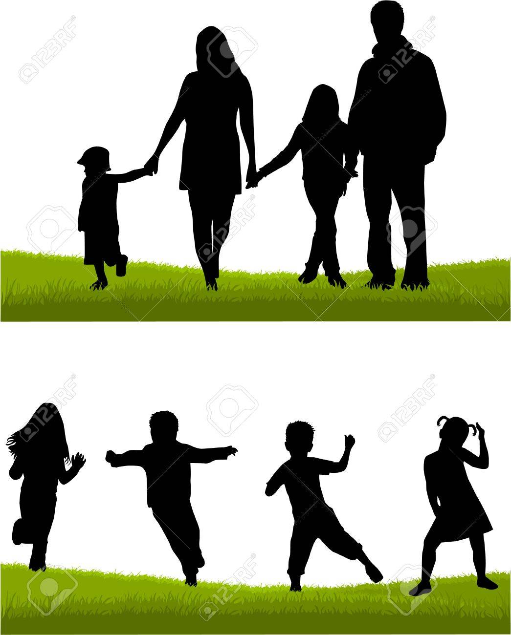 Family - parents and children Stock Vector - 14481602