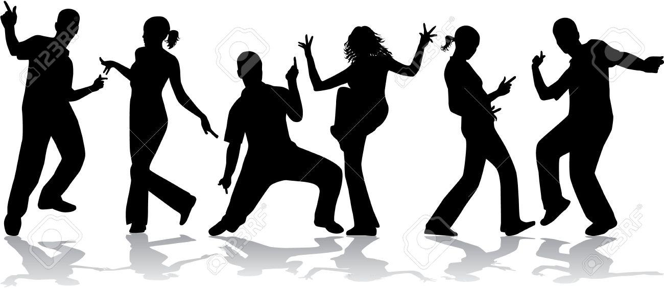 Dancing people -grunge background Stock Vector - 14850812