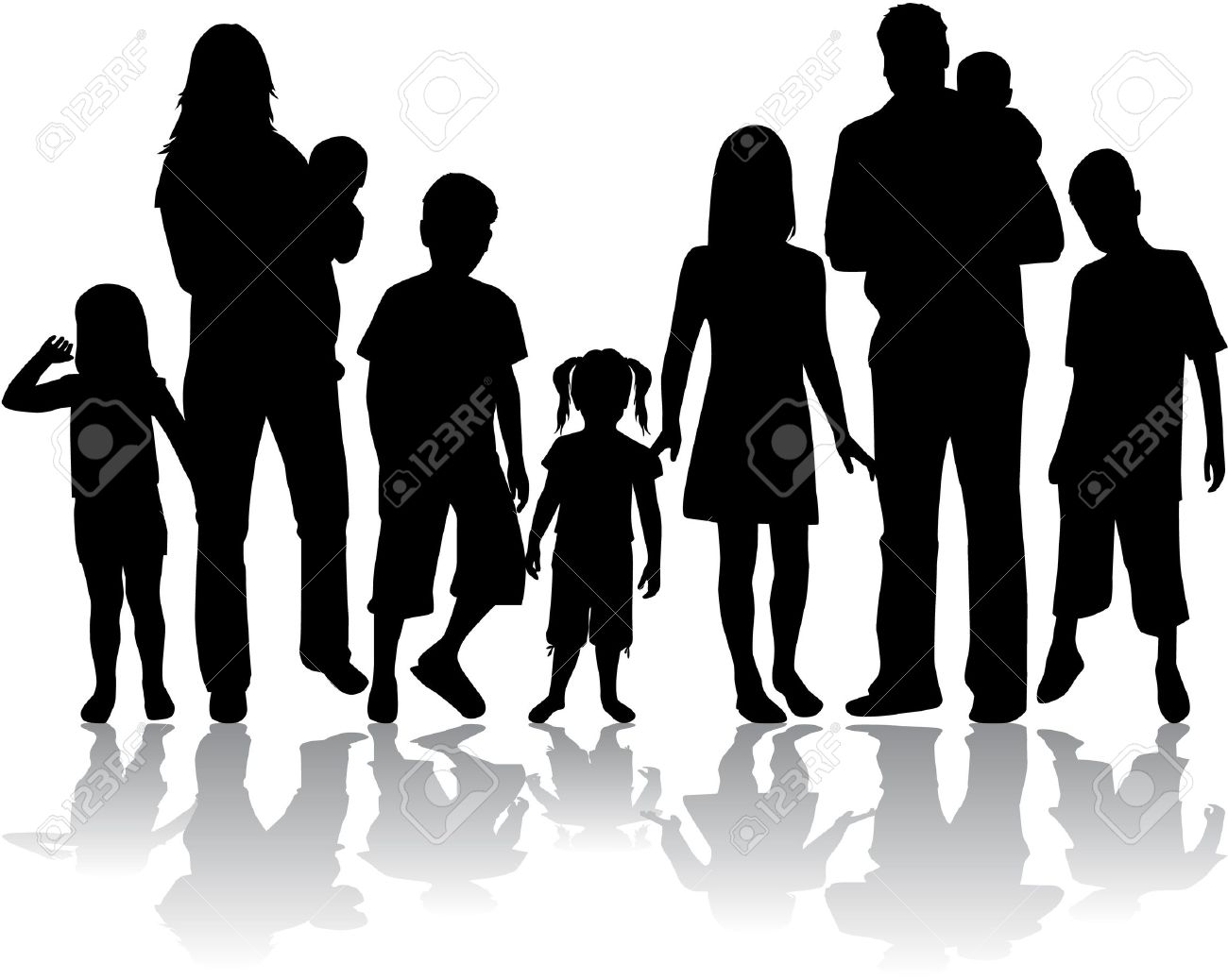 Profiles of large family Stock Vector - 16473327