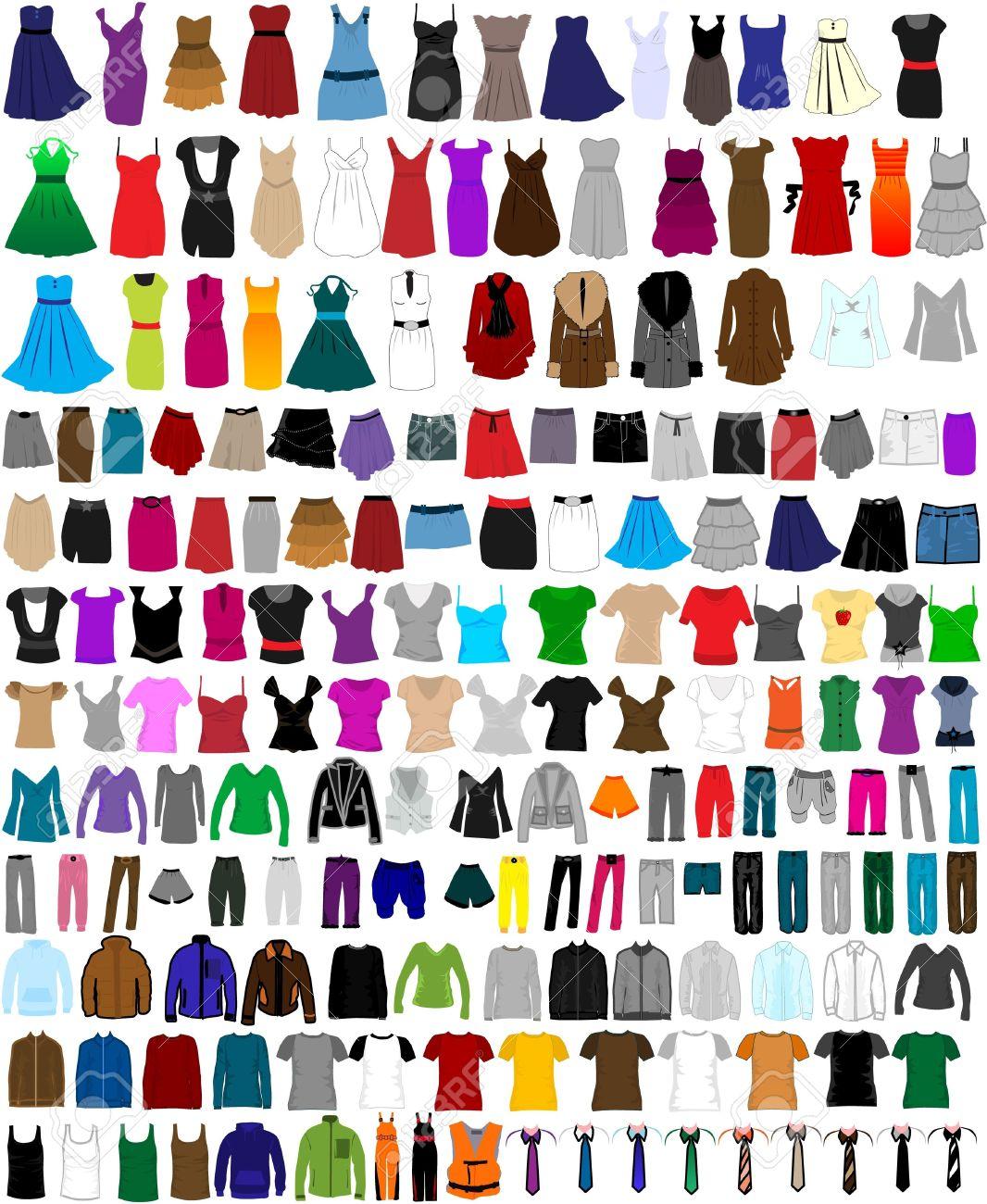 gran conjunto de ropa para hombres y mujeres foto de archivo