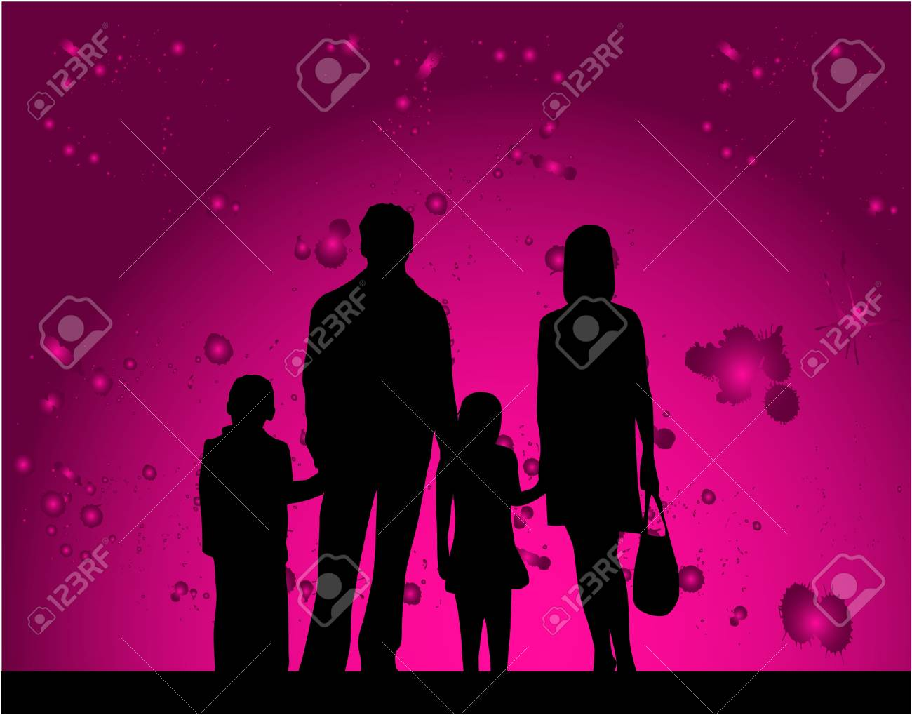 Silhouette families - pink background Stock Vector - 16556814