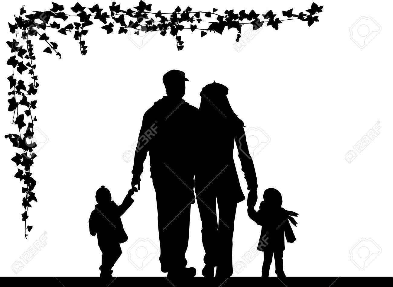 Family silhouette Stock Vector - 17566186