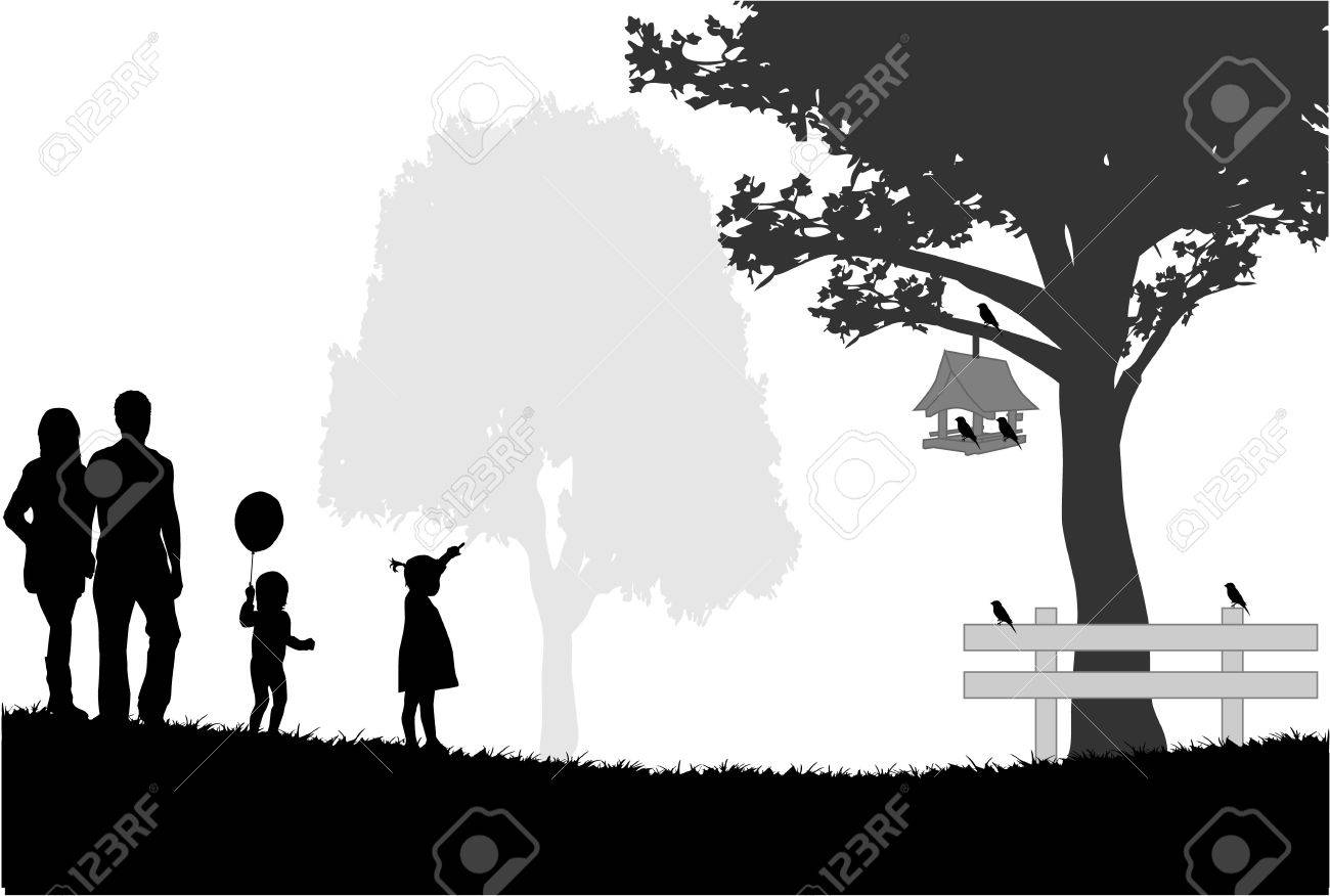 Silhouettes of the parents and children Stock Vector - 17965393