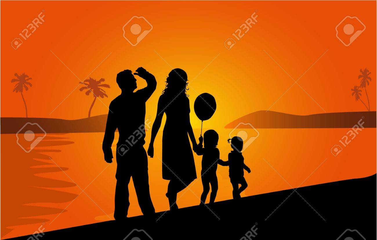 Family on vacations , work Stock Vector - 18542808