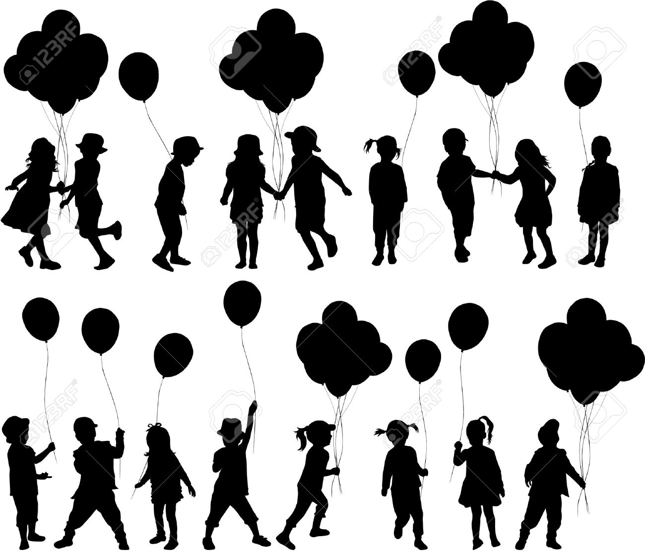Silhouettes of children with balloon. - 34626731