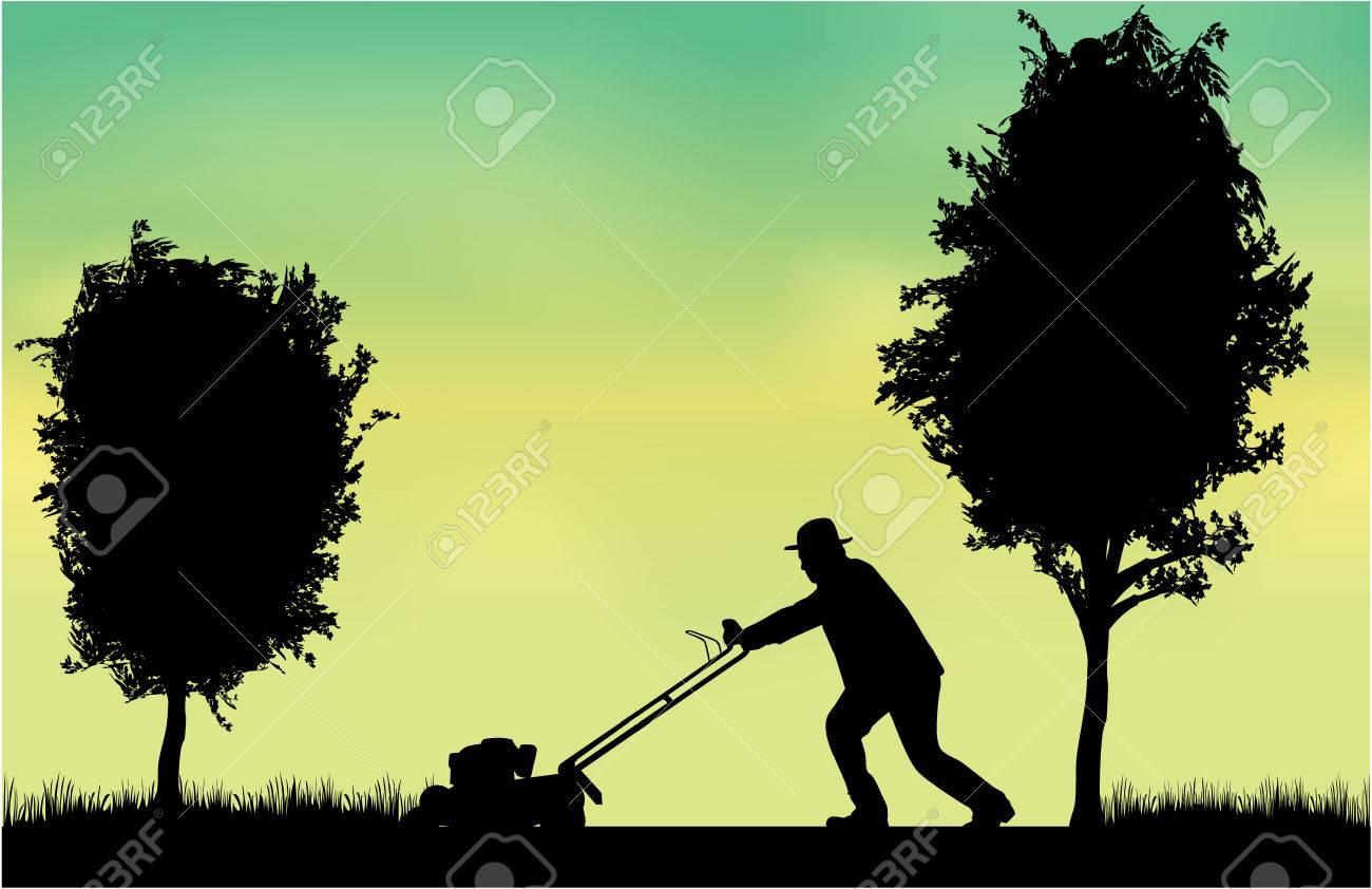 Man Mowing Lawn - 35297144
