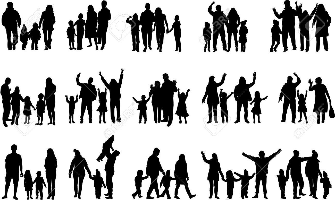 Family silhouettes Stock Vector - 36004217