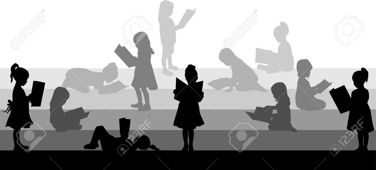 Silhouette of a girl reading a book. - 37042480
