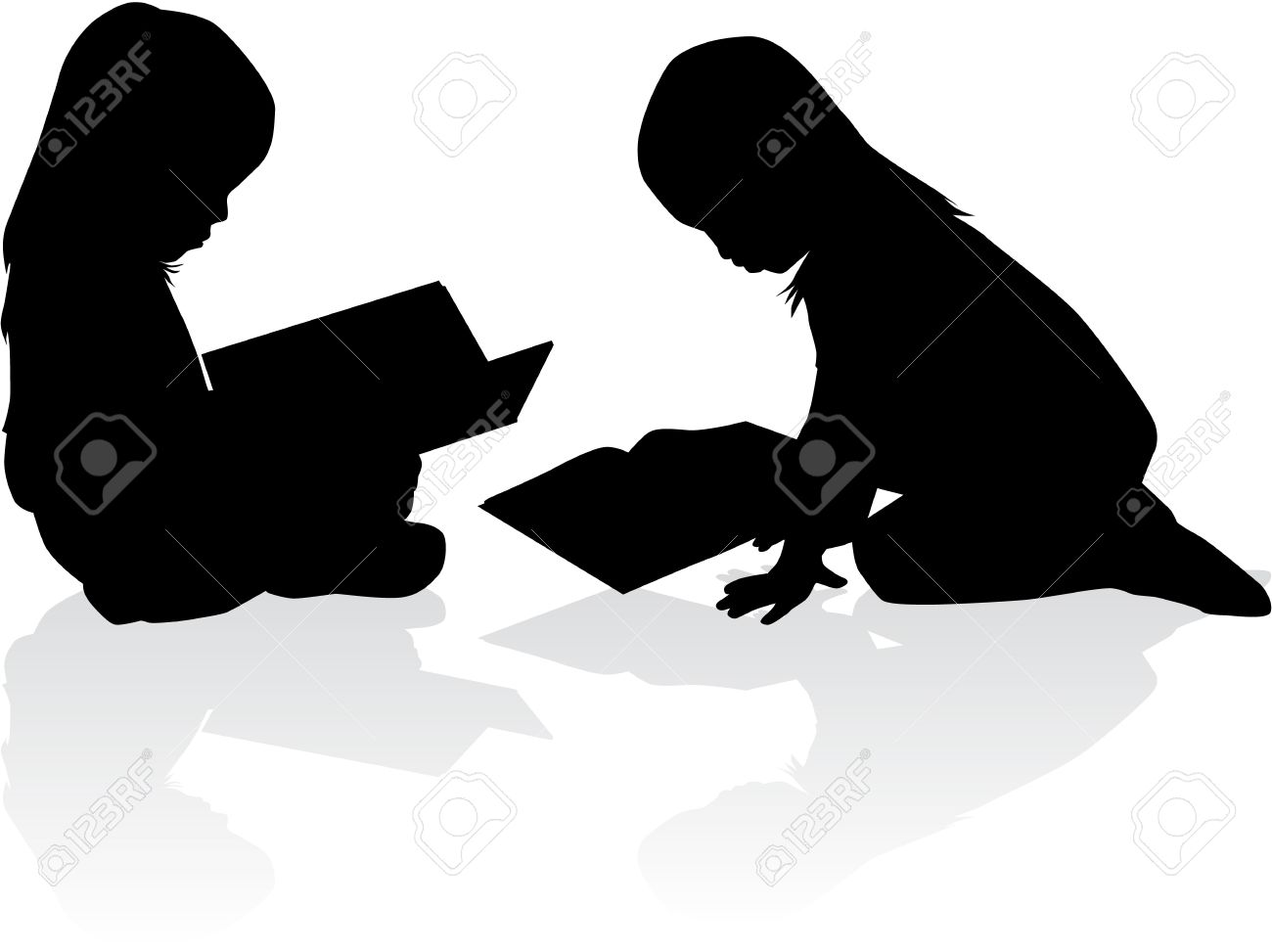 Silhouette of a girl reading a book. - 37042528