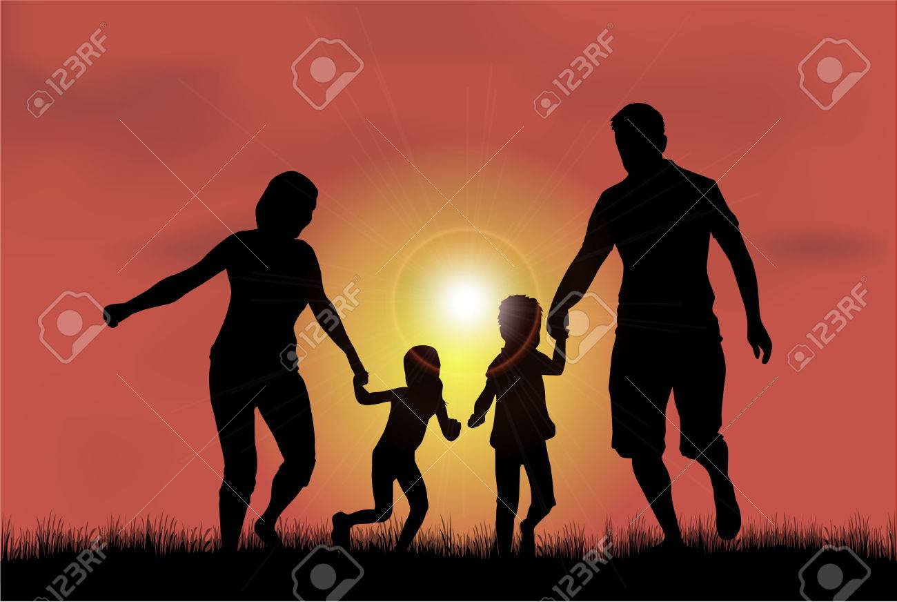 Family silhouettes in nature. - 46244352