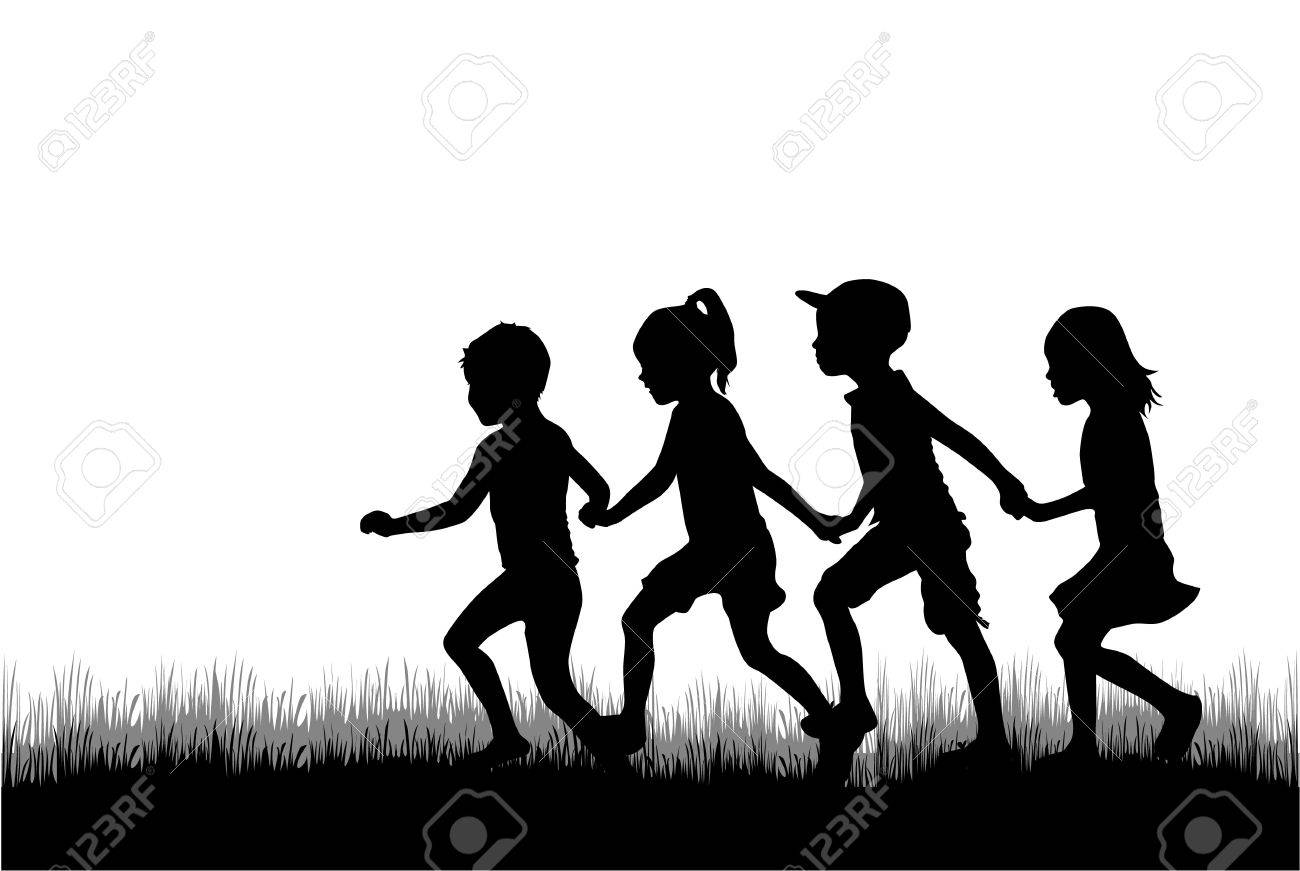Children silhouette in nature . - 46244542