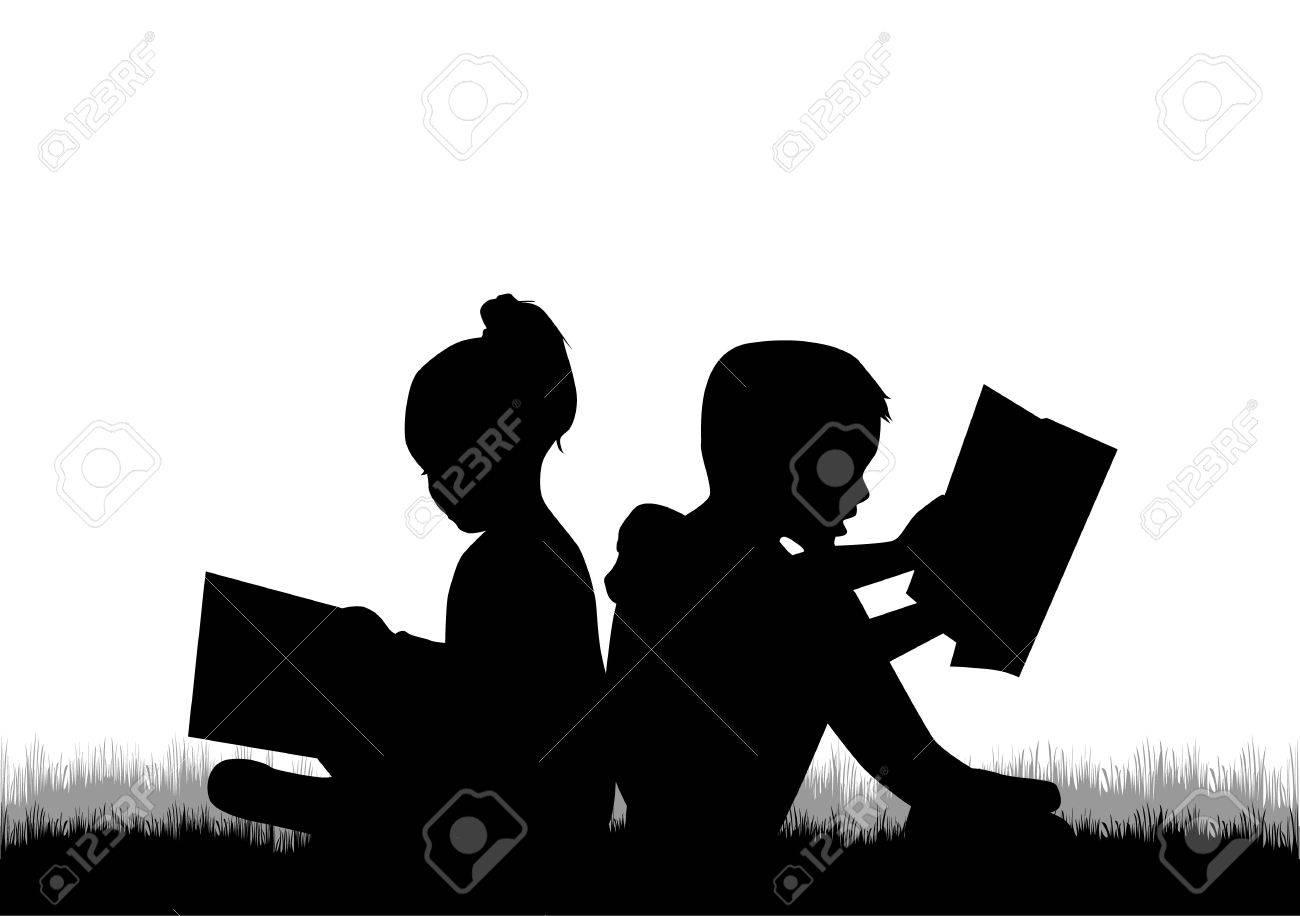 Children reading the book. - 46244546