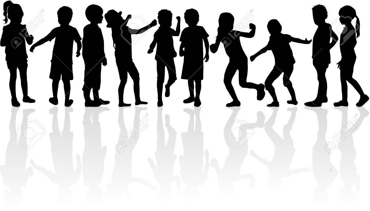 Children silhouettes. - 46237284