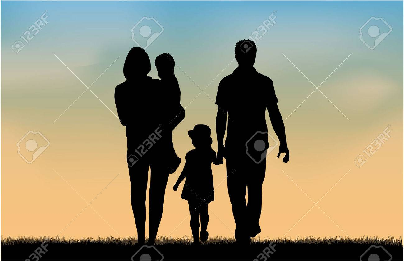 Family silhouettes in nature. - 48671851