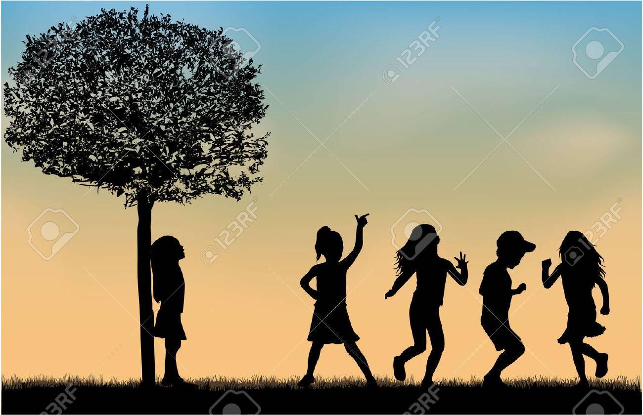 Children silhouettes. - 48680658