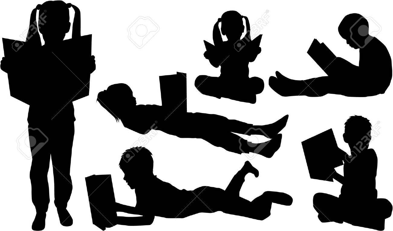 Silhouettes of children with the book. - 48680692