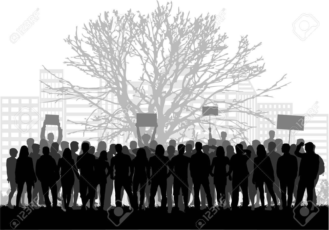 A large group of demonstrators men. - 51240300