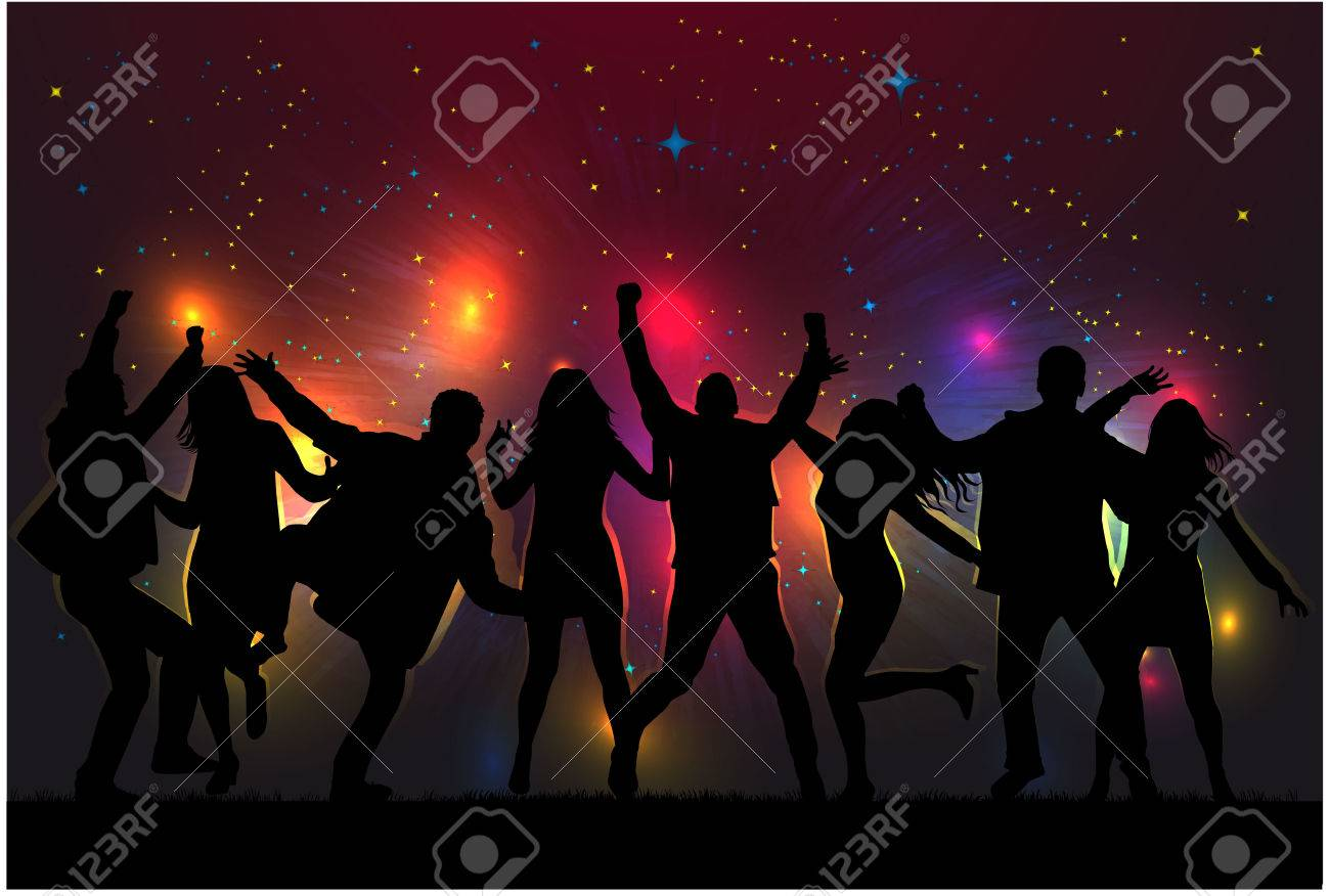 Dancing people silhouettes. - 51883681