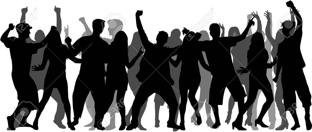 Dancing people silhouettes. Large group. - 59164207