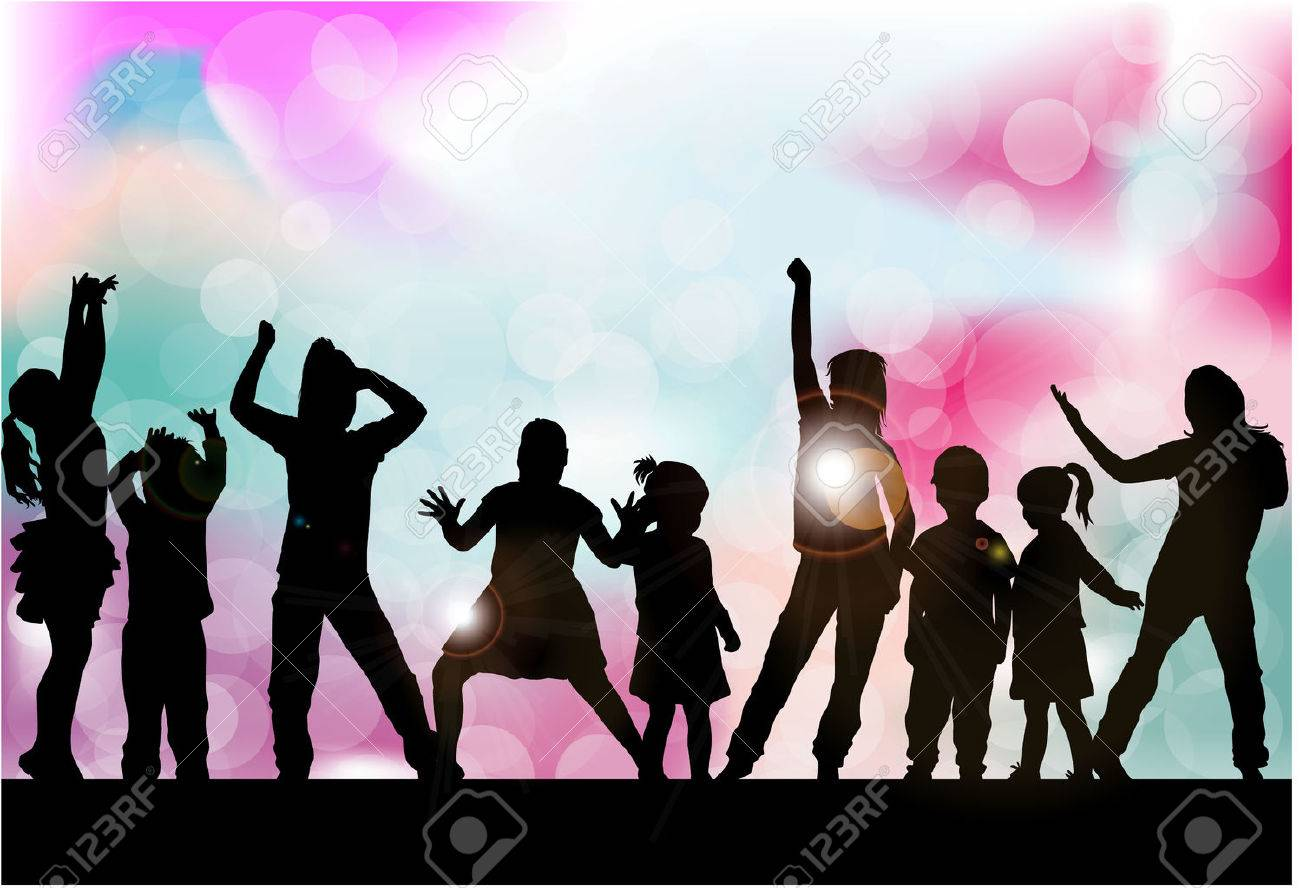 Silhouettes of children playing. - 62687916