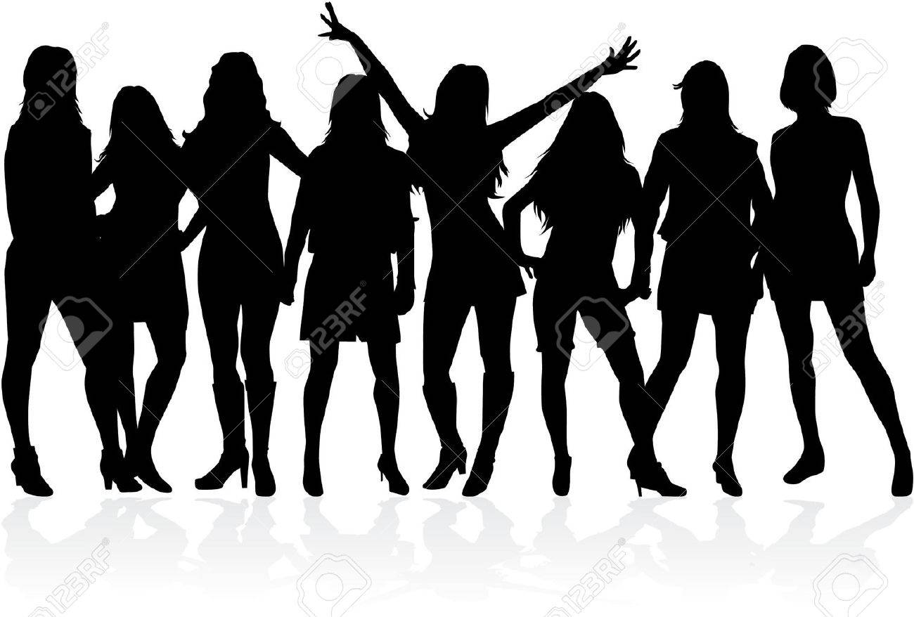Large Group Of Women Silhouette Vector Royalty Free Cliparts