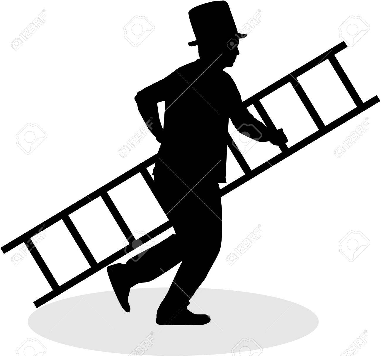 chimney sweep with a ladder black silhouette royalty free rh 123rf com Tree Vector Free Vector Sports Logos