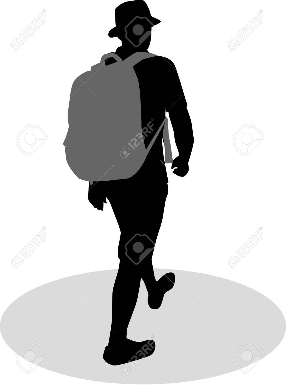 Silhouette d'un homme avec sac à dos voyageur.