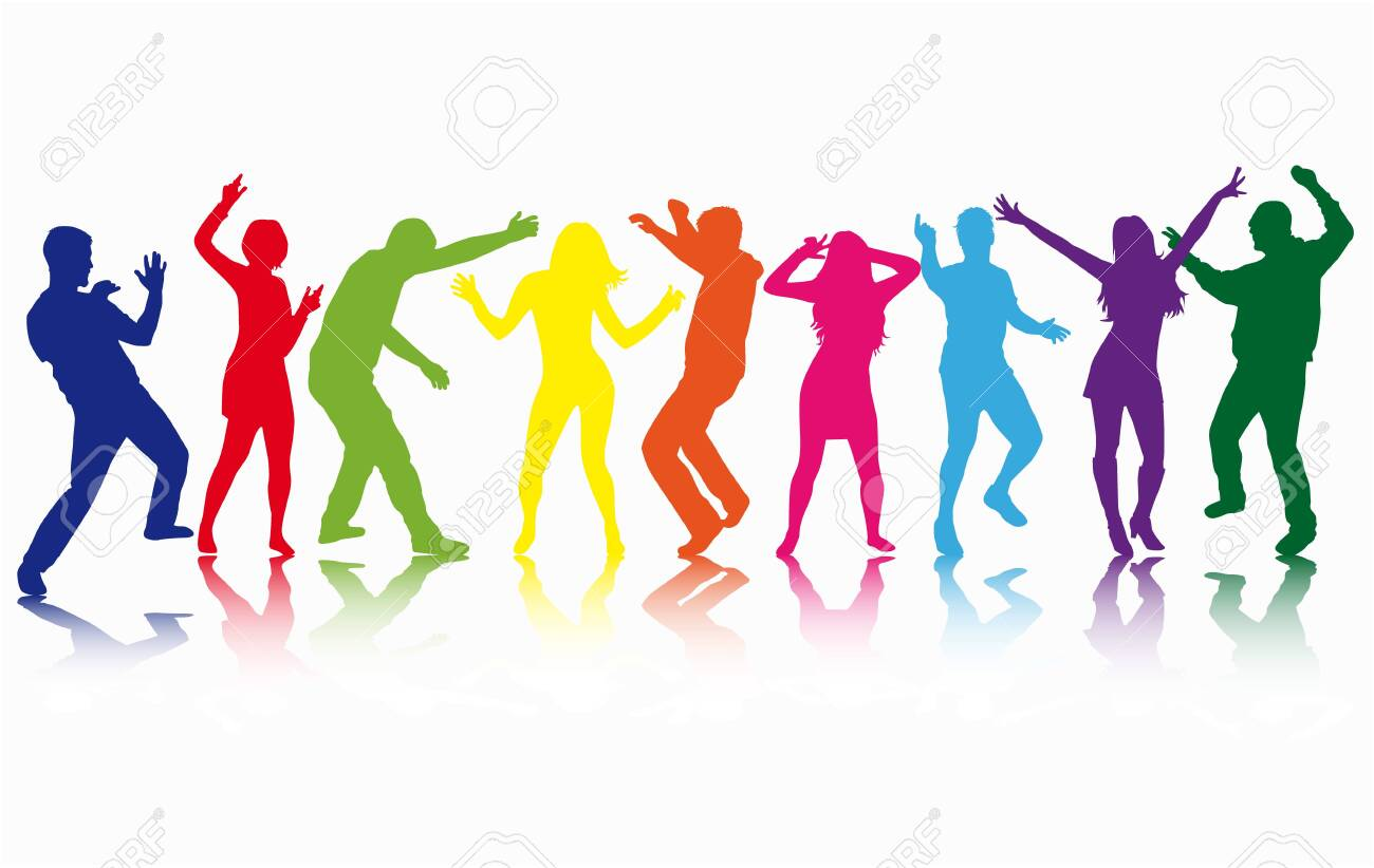 Dancing people silhouettes. Vector work. - 120351684