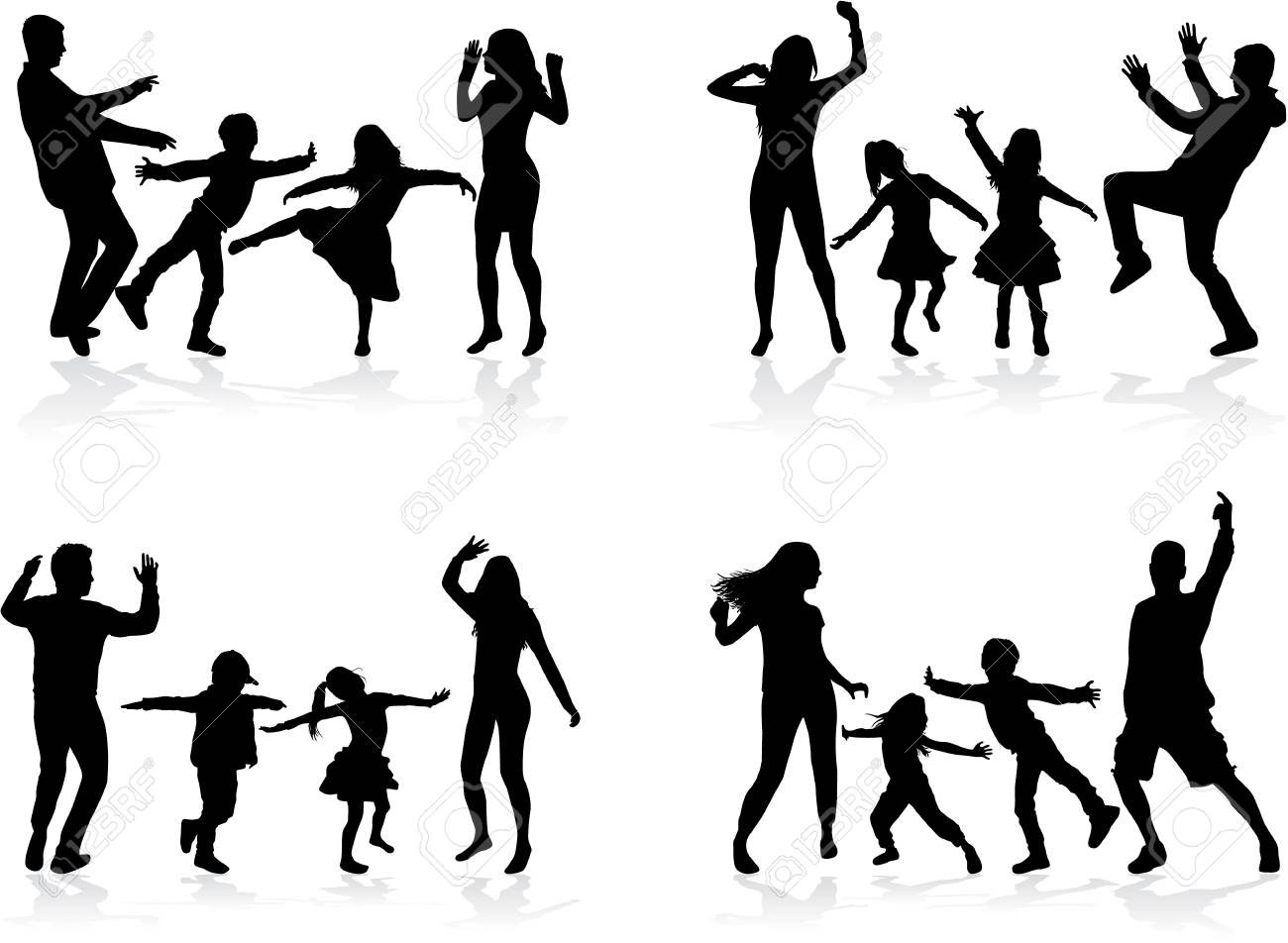 Happy family. Dancing silhouettes. - 120351859