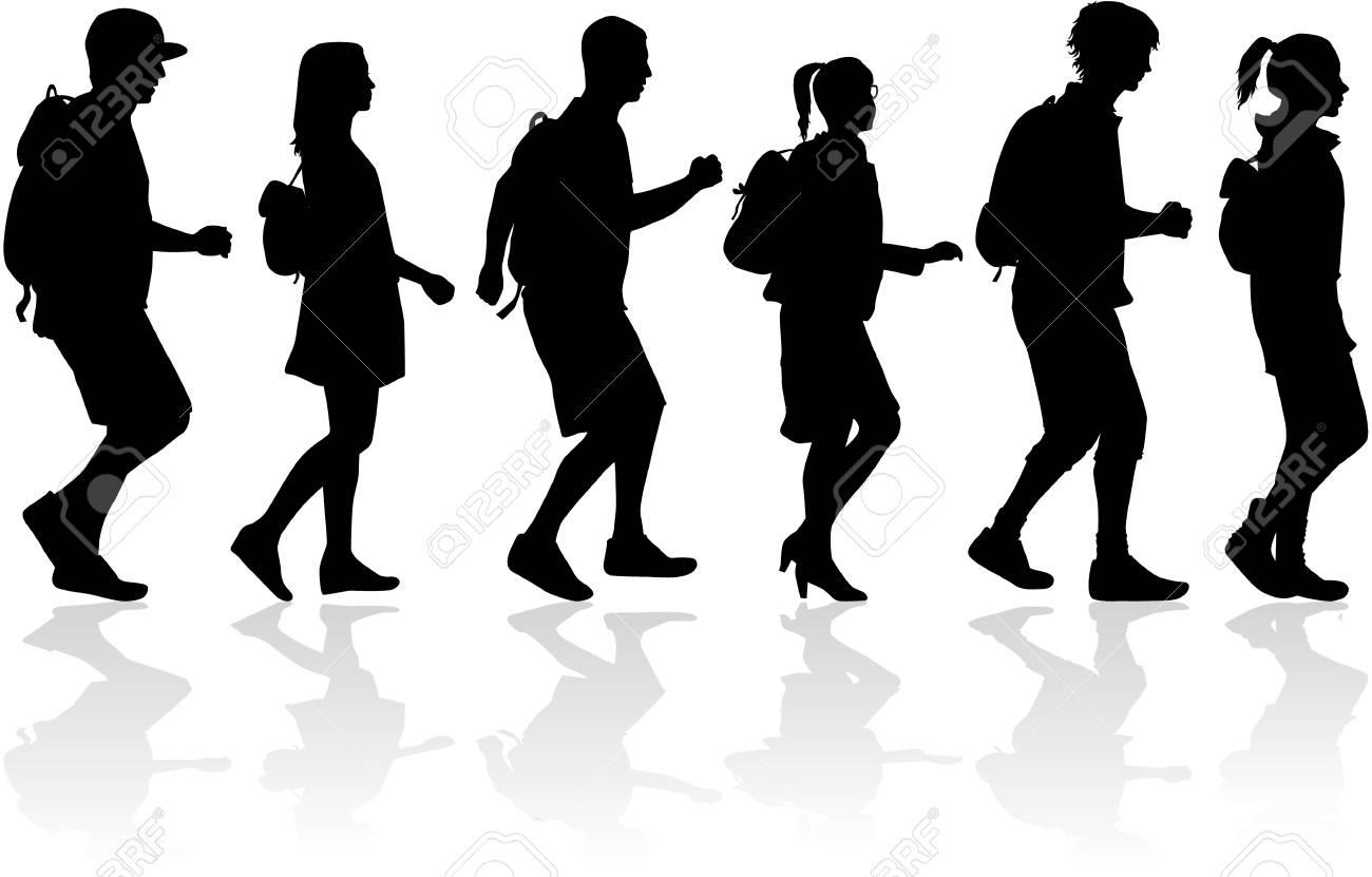 Silhouette people on a walk. - 120352123