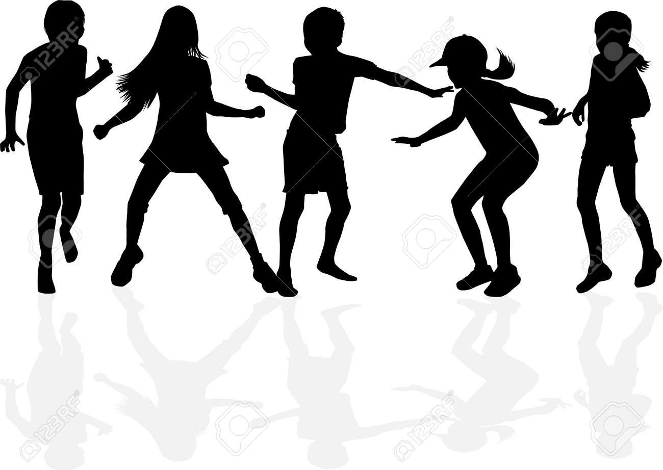 Children black silhouettes. Conceptual illustration - 158390287