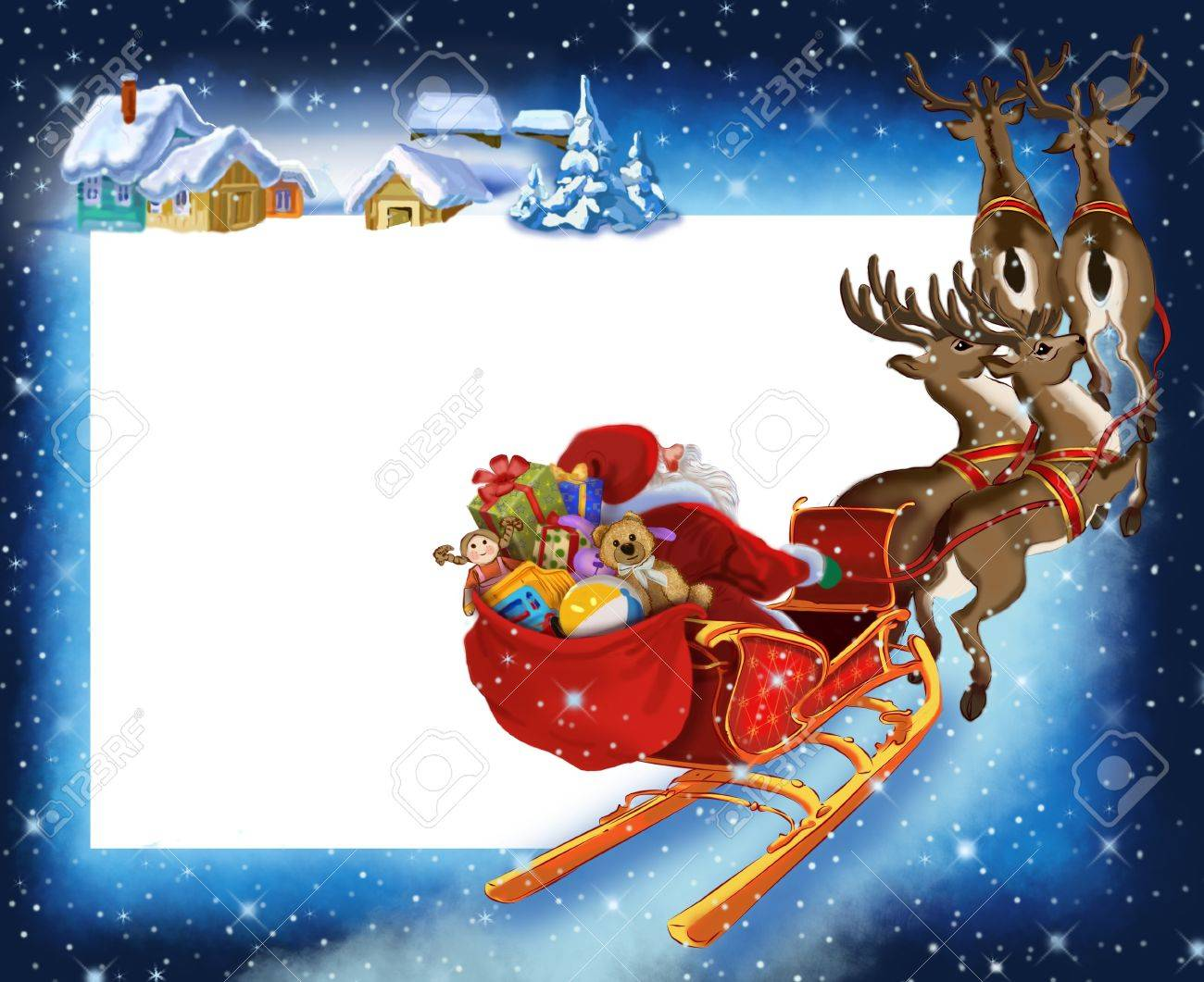 Background with Santa Claus on reindeer Stock Photo - 8428350