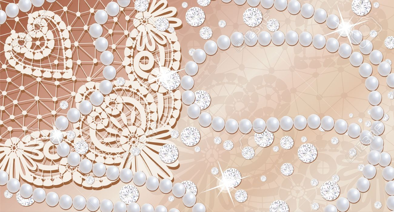 Lace background with pearls and diamonds Stock Photo - 8548036