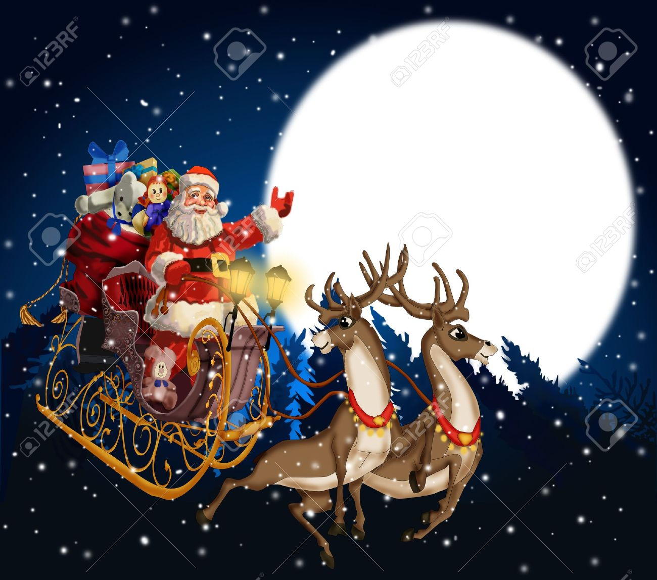 christmas background with santa claus in a sleigh with reindeer stock photo 11140655