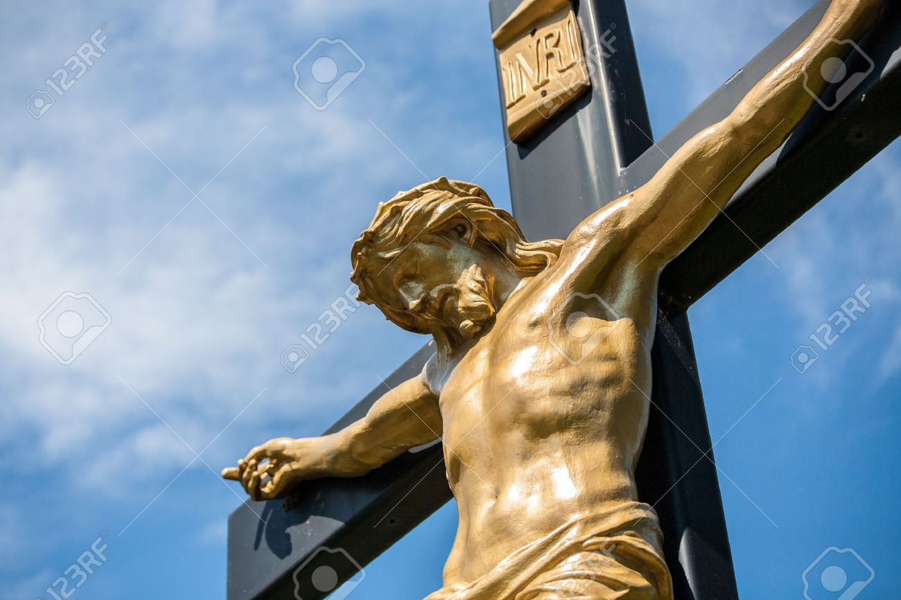 Closeup of a statue of Jesus on a crucifix with the INRI parchment Stock Photo - 13094402