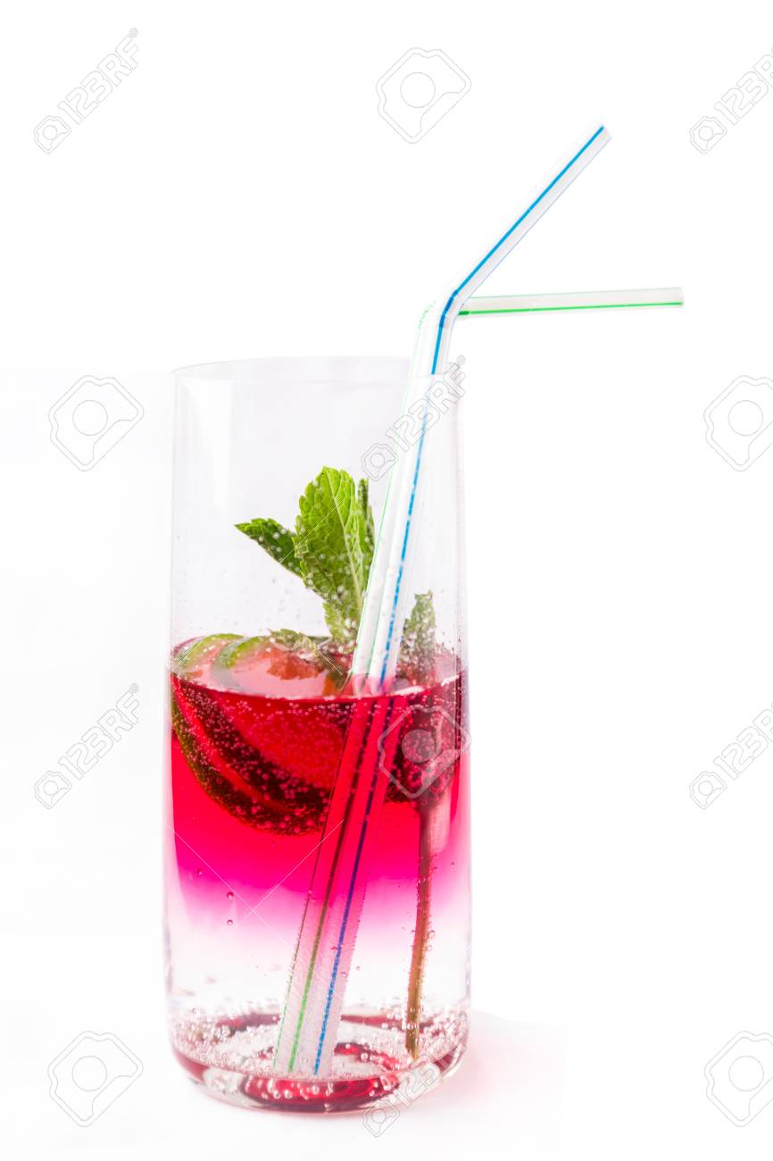 fresh cold cocktail in glass with sliced cituses Stock Photo - 20377804