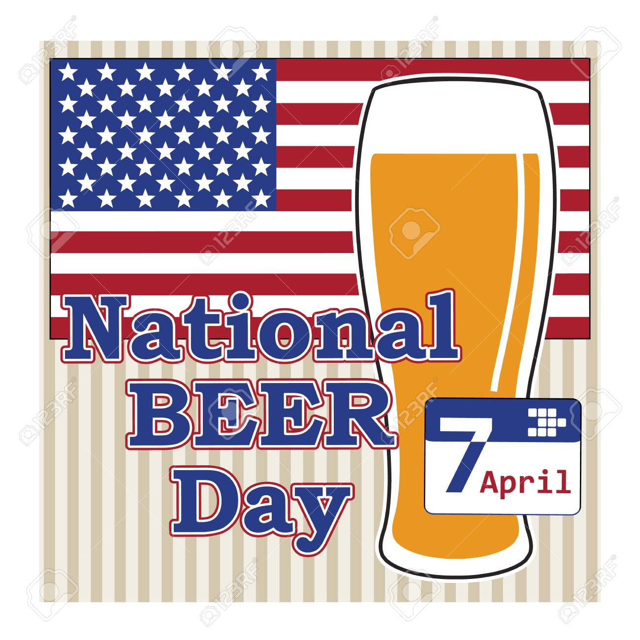 Vector Concept For National Beer Day In Usa 7 April With Beer Royalty Free Cliparts Vectors And Stock Illustration Image 41173012