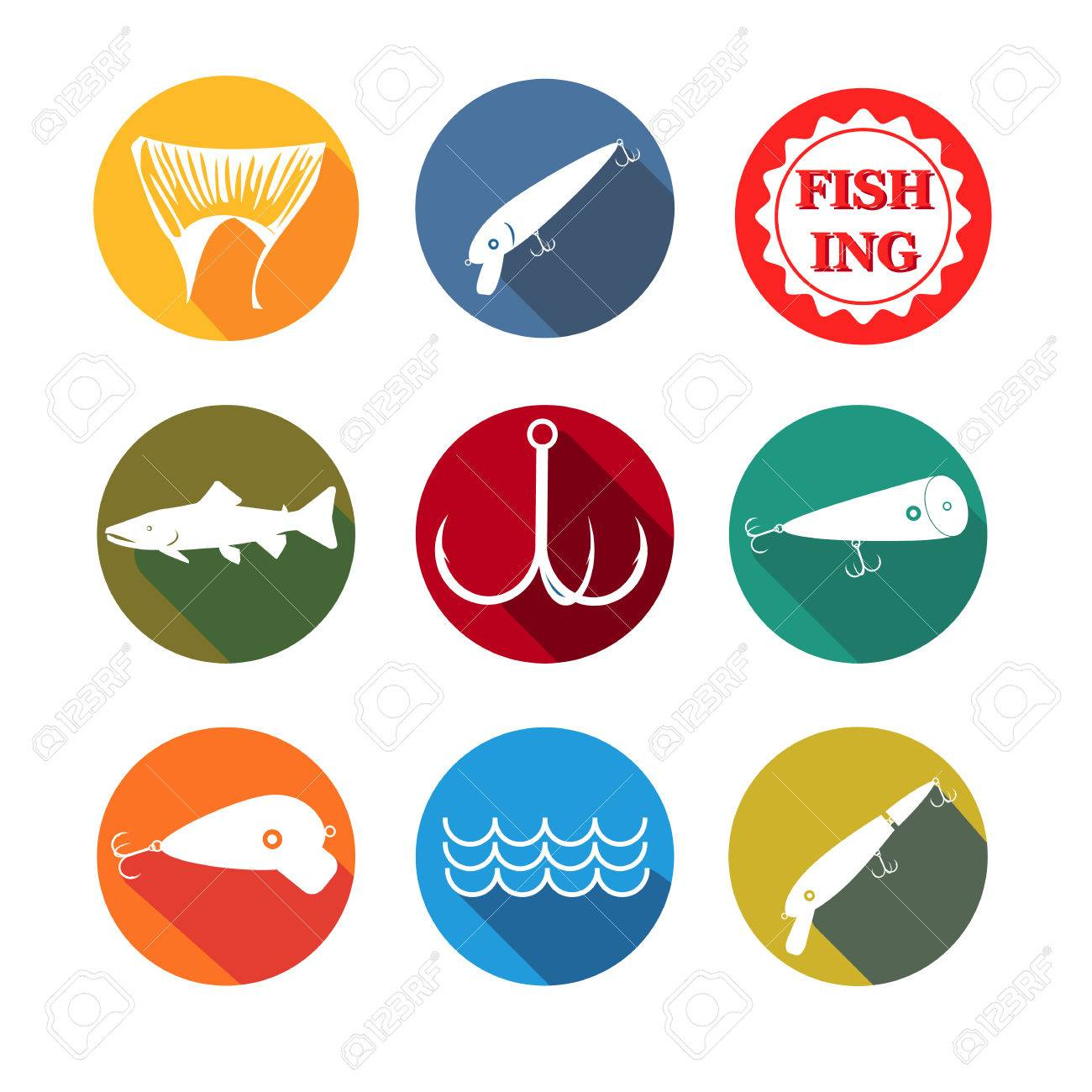 vector design set symbols for fishing with baits, tail, fish,..