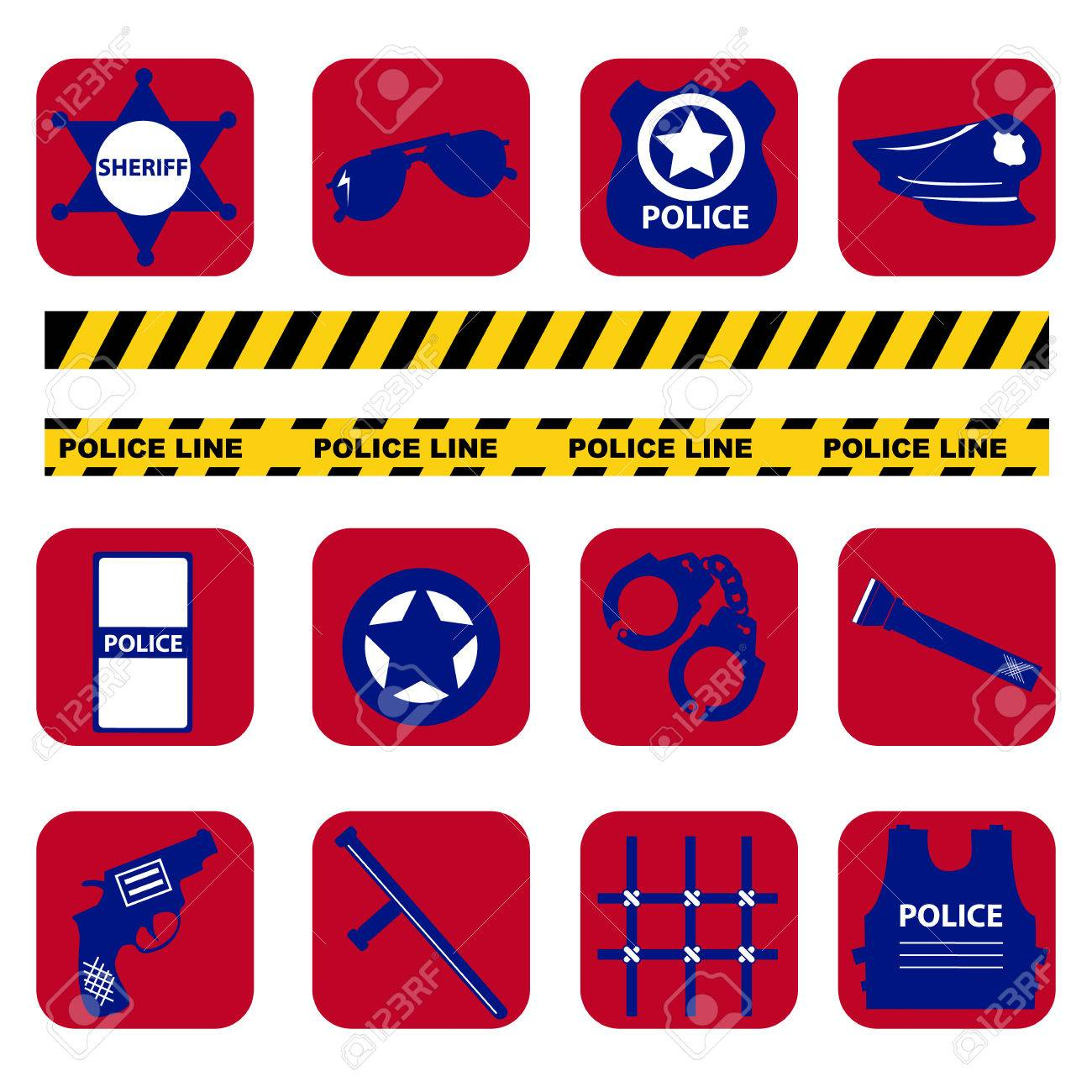 Vector Set Design Silhouette Police Symbols In Dark Blue Color
