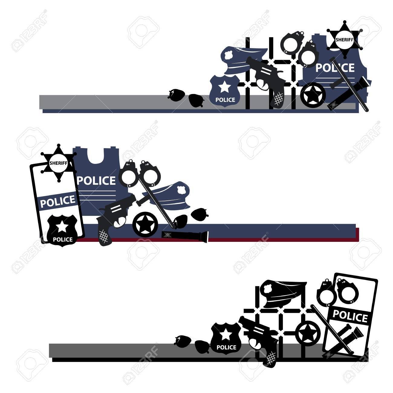 Vector Design Concept Police Symbols In Set In Dark Colors For