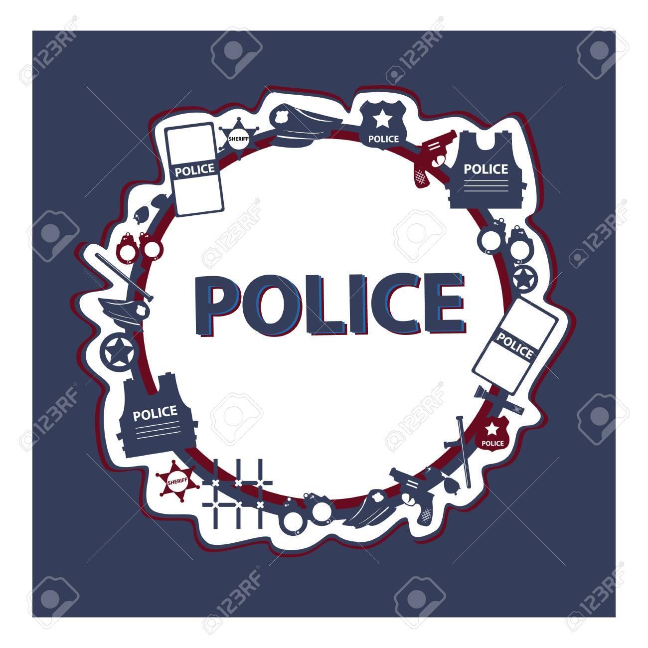 Vector Concept Design Police Symbols In Round Form With Dark
