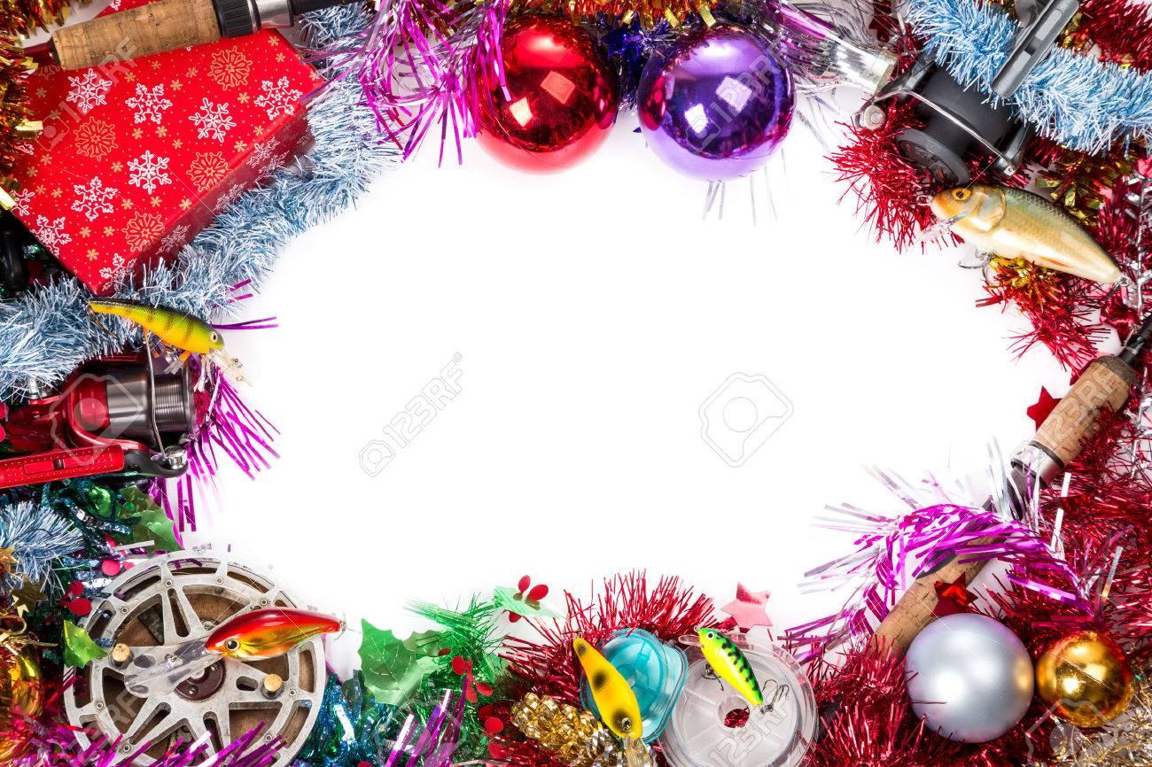 Navidad Y Año Nuevo Marco Para La Tarjeta Postal Para Los Pescadores ...